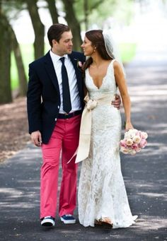 Love LOVE the dress! But if my hubby wanted to wear those pants, we'd have a problem.
