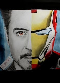 Robert Downey Jr., Iron Man, Marvel, my art, drawing