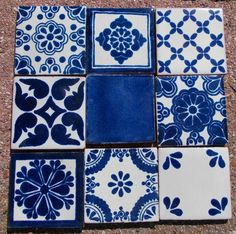 "18 Mexican Talavera Pottery 2"" Clay Tile Mix Blue Azul Cream White Venice CD 