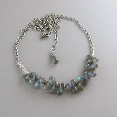 Tiny Labradorite Briolettes Spectrolite Sterling Silver Bead Chain Necklace Blue Green Boho Cluster by DJStrang on Etsy https://www.etsy.com/listing/192354514/tiny-labradorite-briolettes-spectrolite