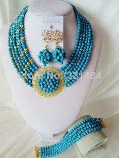 16 inches Fashion Nigerian African Wedding Beads Jewelry Set Blue Turquoise Necklaces Bracelet Earrings CRB-1270 $48.64
