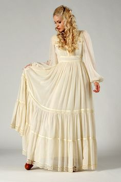 Gunne Sax Cream Gauze Poet Sleeve Maxi Dress
