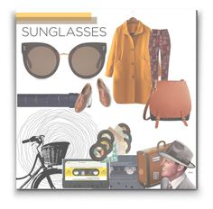 """Vintage Sunglasses"" by teenagedirthbag ❤ liked on Polyvore featuring STELLA McCARTNEY, Collectif, Philip Stein, Chronicle Books, Burberry, vintage, yellow and sunglasses"