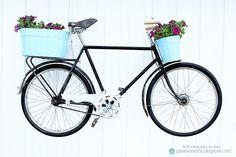 Hang an old bike on the wall, add some flowers and you have a lovely garden sculpture! ;)) Styling and photography by Ann, Glassveranda. (glassveranda.blogspot.com) Old Bikes, Outdoor Gardens, Garden Sculpture, Bicycle, Wall, Photography, Beautiful, Flowers, Design