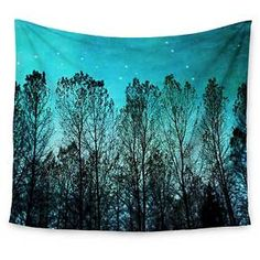 """Blue Trees Sylvia Cook Dark Forest Wall Tapestry (51""""x60"""") - Kess InHouse : Target"""