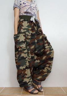 Green Army CAMO String tie waist Long Trouser, Unisex Drop crotch harem pants unique,Cotton Blend(pants-AJ1). by Brightfashion on Etsy