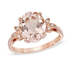 Oval Morganite and Diamond Accent Ring in 10K Rose Gold  AKA the absolute ring of my dreams as of February 2015
