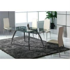 NEW Modern 6 Seater 153 - 210L X 90W X 75H Extendable Glass Top Dining Table W C
