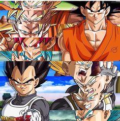 Vegeta y Goku fases hasta dbs