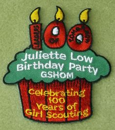 Girl; Scouts Heart of Michigan 100th Anniversary Juliette Low Birthday patch