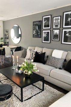 The living room is the principal gathering area and thus the highlight of every home. To earn a little living room feel bigger, consider using the advice below. The secret to making the most out of a little living room… Continue Reading → Living Room Decor Cozy, Living Room Grey, Cozy Living, Black Living Room Furniture, Black White And Grey Living Room, Loving Room Decor, Decorating Ideas For The Home Living Room, Loving Room Ideas, Small Living Rooms