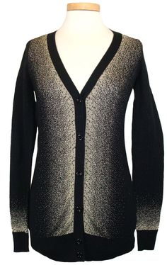 Silver Brand Womens Sweater Cardigan Top Gold Metallic Knit Black Sz M NEW $68 #SilverBrand #Cardigan