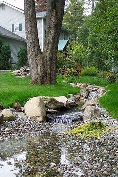 37 Trendy backyard water feature diy dry creek 37 Trendy backyard water feature diy d Backyard Stream, Ponds Backyard, Backyard Landscaping, Landscaping Ideas, Backyard Play, Small Garden Stream Ideas, Backyard Ideas, Backyard Waterfalls, Inexpensive Landscaping