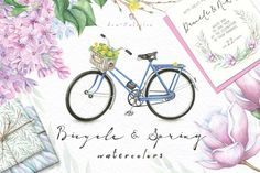 FLOWERS and BICYCLE Watercolors