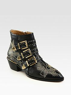 LOVE <3 Chloé Studded Leather Buckle Ankle Boots