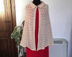 Mantello di lana bianco Vintage anni 60 a mano
