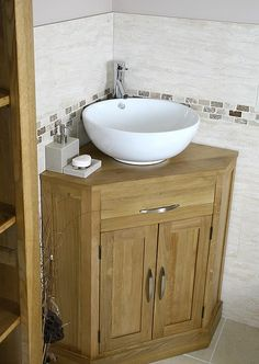 corner bathroom vanity | Oak and Ceramic Corner Bathroom Vanity Sink Set | Click Bathroom.PERFECT!