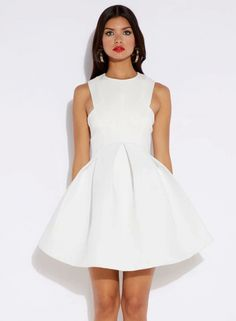 White Round Neck Sleeveless Flare Pleated Dress - abaday.com