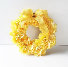 Yellow Peonies Flowers Wreath Silk Peony Artificial Flower Jute Wreaths Front Door Decoration Table Centerpiece Summer Spring Wedding Decor