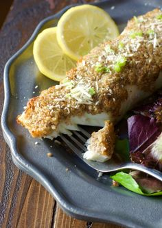 Try this Keto Baked Parmesan and Pecan Crusted Halibut for a low carb, keto dinner ready in just 20 minutes! This easy seafood dish is just 3 net carbs per serving! Halibut Recipes, Fish Recipes, Seafood Recipes, Keto Recipes, Healthy Recipes, Healthy Meals, Healthy Food, Healthy Eating, Game Recipes