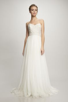 THEIA @ Trousseau Bridall I Strapless beaded bodice with spanish tulle skirt