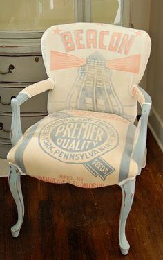 Not necessarily my style, but I love how she placed the feed sack on the chair! So creative.