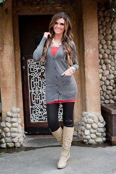 Online boutique. Best outfits. Simple Beauty Boyfriend Cardigan Charcoal…