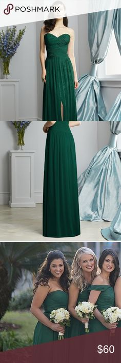 Bridesmaid•Formal•Prom: Emerald Dress by Dessy I wore this emerald, shimmery stunner as a bridesmaid, but it would be perfect for prom, military ball, sorority formal, or any other black tie event. Last picture shows the only defect- a small tear in the bottom of the tulle overlay. Seamstress should be able to fix that for you for a great price... which will certainly be far less expensive than buying a formal gown outright at a department store! Price reflects that  This is from the Lux…
