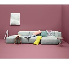 Sofa, light grey, modular sofa. Mags SOFT Sofa System designed by: HAY Wall coverings, soft pink