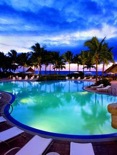 Beach side pool at The Ritz Carlton. Key Biscayne, Florida. Miami.