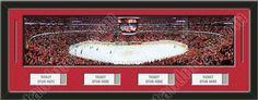 One framed large Chicago Blackhawks stadium panoramic with openings for 1, 2, 3, or 4 ticket stubs*, double matted in team colors to 39 x 13.5 inches.  The lines show the bottom mat color. $189.99 @ ArtandMore.com