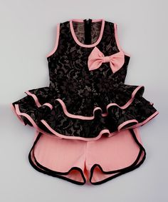 Love this Black Lace Peplum Top & Salmon Shorts - Toddler & Girls on #zulily! #zulilyfinds
