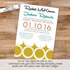 midcentury modern wedding invitation reception mormon lds temple announcement baptism birthday rehearsal retirement bridal shower (item 328) www.katiedidcards.com