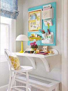 Transform the smallest of corners into a storage-packed office by utilizing wall space. Here, a wall-mount shelf becomes a desk with plenty of work space, and a board outfitted with wall-mount organizers takes organization vertical.