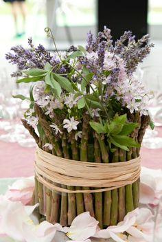 """Asparagus and lavender arrangement for """"TASTE EVENT"""" Regents Park"""