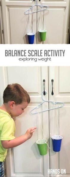 Build an easy balance scale for preschoolers to explore weights! via @handsonaswegrow
