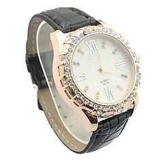 * Penny Deals * - Yodee! Women's Diamante White Dial PU Band Quartz Analog Wrist Watch (Assorted Colors) 39% Off ** You can get more details by clicking on the image.