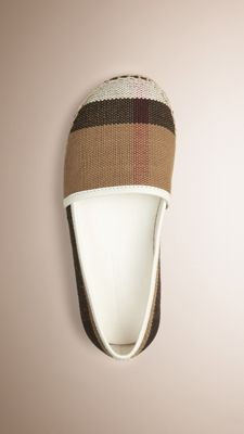 Canvas Check Espadrilles Off White