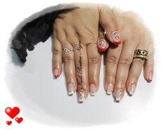 Unhas em Gel Francesa em cor branco e vermelho com nail art Betty Boo <3