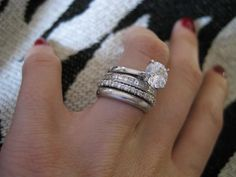 I love multiple rings: perfect anniversary present. Of course I would just like a diamond at this point. Pretty Rings, Beautiful Rings, Bling Bling, Stacked Wedding Rings, Stacked Rings, 3 Karat, Multiple Rings, Engagement Bands, Solitaire Engagement