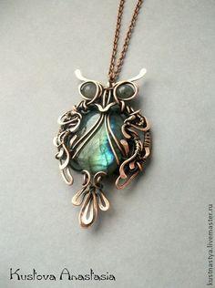 "Pendants handmade. Fair Masters - handmade brooch pendant wire wrap ""Owl"". Handmade."