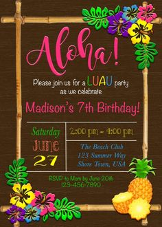 Luau Birthday Invitation Hawaiian Party Invitations Tropical