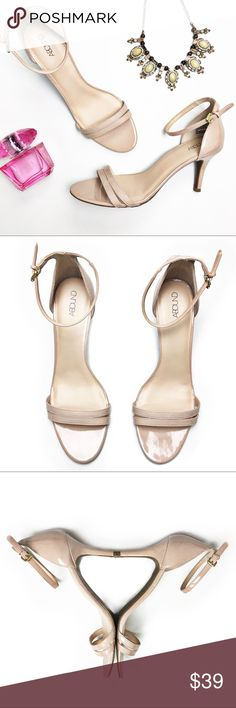 """Abound Nude Patent Heels These shoes are perfect for almost any outfit.  Pantent upper with ankle strap and has an approximate 3.5"""" heel.  Shoes are in excellent condition except for indention on back of left heel as seen in photo.  Shoe is made of man made material. Abound Shoes Heels"""