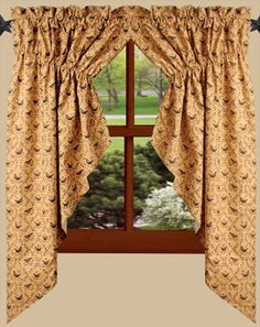 "Primitive Burgundy Applique Star Prairie Swag 63"" Rustic Country New Swag Curtains For Kitchen Design Inspiration"