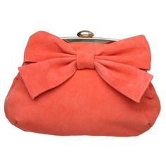 Coral suede bow clutch bag