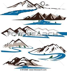 Clipart of Mountains and Rivers k7872585 - Search Clip Art, Illustration Murals, Drawings and Vector EPS Graphics Images - k7872585.eps