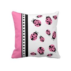 Cute Pink Ladybugs Throw Pillow. Super adorable for a little girl's bedroom or a baby nursery. #Children #Kids #Decor