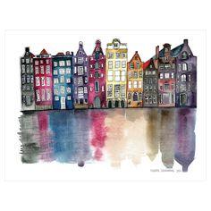 Amsterdam by Claudia Libenberg Unframed Wall Art Print, Purple