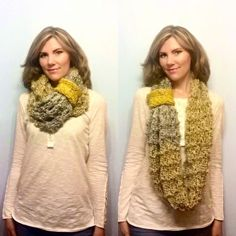 Oversize Silver and Gold Loose Knit Winter Infinity by LovelybyLee