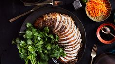 Pastrami-Style Grilled Turkey Breast - Who says turkey is just for Thanksgiving? This feeds a crowd or makes yummy leftovers to freeze. Grilled Turkey Breast Recipe, Pastrami, Hanukkah Food, Hanukkah Recipes, Hannukah, Traditional Thanksgiving Recipes, Cooking Recipes, Healthy Recipes, Cooking Tips